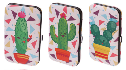 Cute novelty cactus design manicure set of metal nail manicure tools in fabric case.