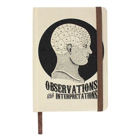 "Phrenology head design A6 ruled notebook with ""Observations And Interpretations"" front and back cover slogan design."