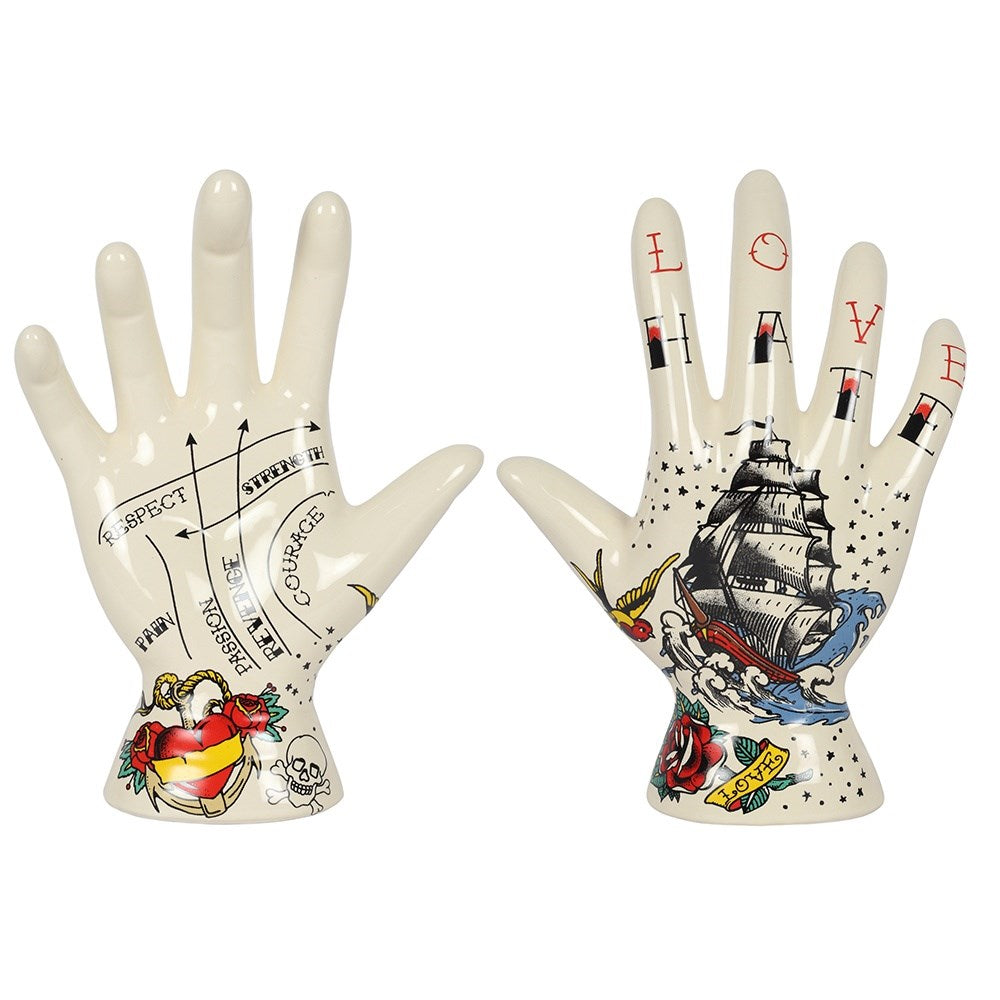 Temerity Jones old school Sailor Jerry style tattooed ceramic hand ornament.