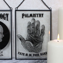 "Glass wall hanging art plaque with Palmistry palm reading hand design and ""Fate Is In Your Hands"" slogan."