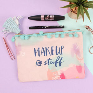 """Make Up And Stuff"" slogan pompon and tassels pastel coloured make up/toiletries bag."