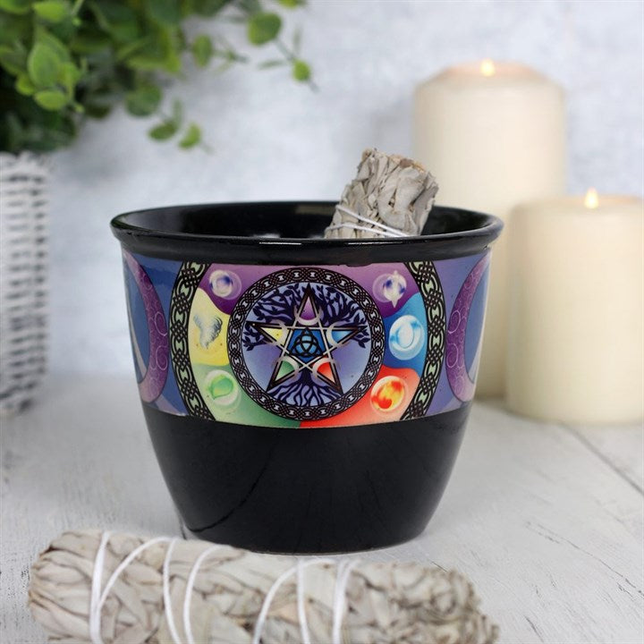 Pentacle, pentagram and tree of life 5 elements of nature black ceramic smudge bowl