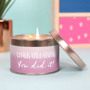 "Red Grape luxury scented candle tin with ""Congratulations, You Did It!"" message."