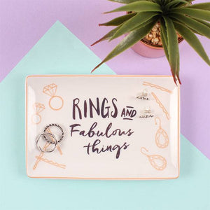 """Rings and fabulous things"" slogan rectangular ceramic jewellery storage/trinket dish."