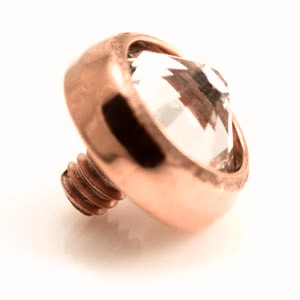 Rose gold internally threaded titanium clear jewel disk top. 1.2mm thread to fit 1.6mm threaded bases