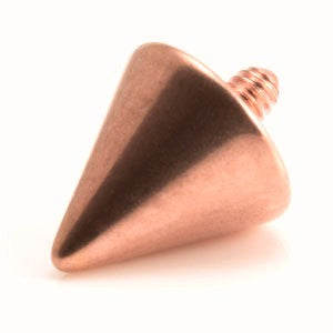 Rose gold internally threaded titanium plain 4mm cone dermal top. 1.2mm thread to fit 1.6mm threaded bases