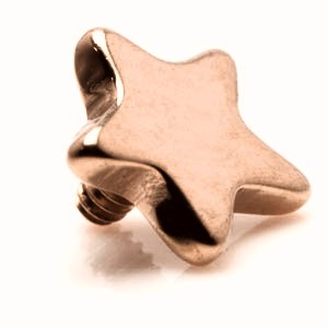 Rose gold titanium star shape micro dermal threaded top. 0.9mm thread to fit 1.2mm internally threaded jewellery/dermal anchor bases