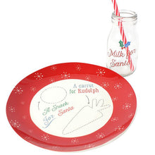 Santa & Rudolph Christmas Eve mince pie, carrot and milk treats plate and glass bottle set.