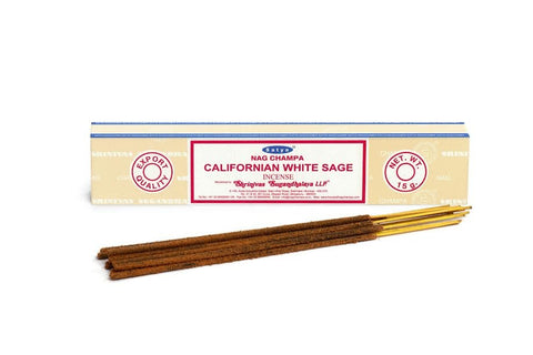 Genuine Satya Sai Baba brand Indian hand rolled incense sticks. 12 x 15g pack, Nag Champa Californian White Sage scent.