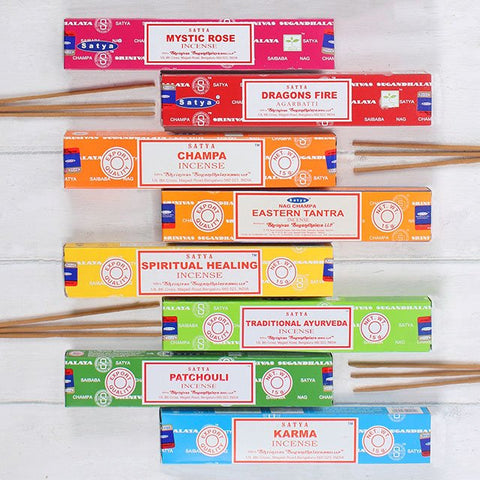 Random mixed lot of 12 boxes of 15g Satya Sai Baba incense sticks. Each pack contains approx. 15 sticks. Box contains twelve fragrances chosen at random.
