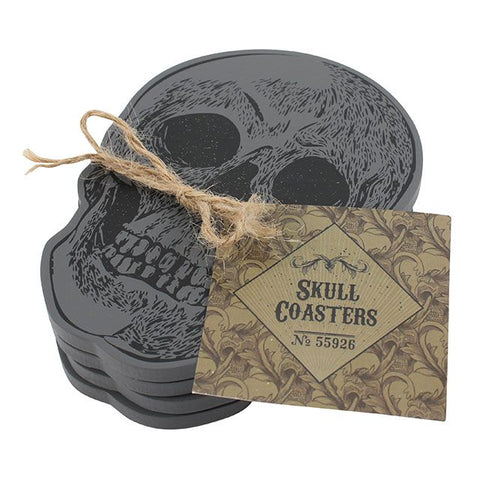 Cabinet of curiosities black wooden skull shaped drinks/mug coasters, set of 4.