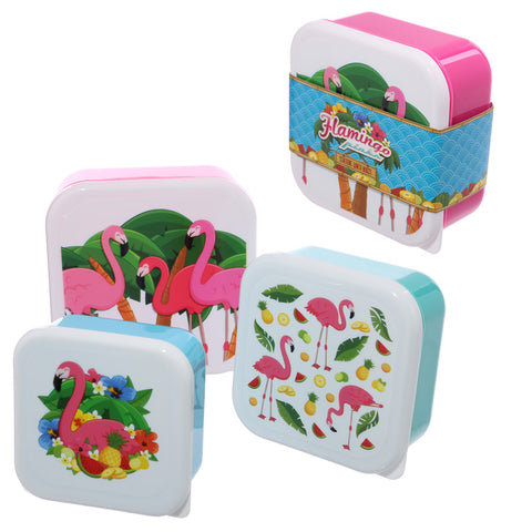 Set of 3 stacking tropical flamingo design plastic cute children's school lunch/picnic sandwich food storage boxes.