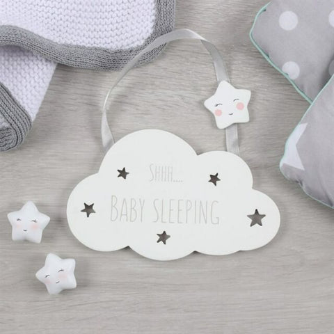 "Cute cloud wall or door hanging sign with ""Shhh... Baby sleeping"" slogan. Finished with silver ribbon and cute smiling star detail."