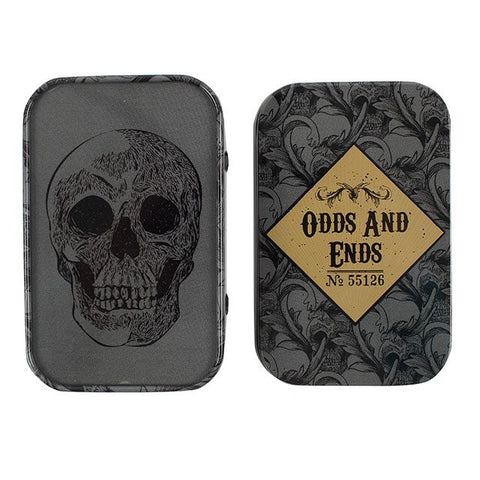 """Odds And Ends"" skull design/decorated metal storage tin box with lid."