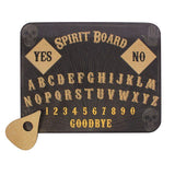 Skull decorated cork spirit ouija board and planchette set.