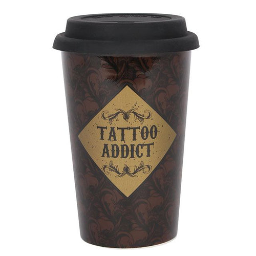 Tattoo Addict slogan text black double walled thermal reusable travel coffee tea mug with black silicone lid.