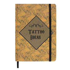 """Tattoo Ideas"" A5 luxury brown and gold notebook, lined/ruled pages and metallic page edge detail."