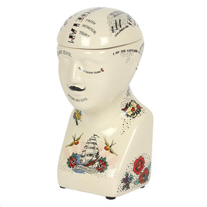 Sailor Jerry tattoo style quirky phrenology head cookie or jewellery storage jar in ceramic with removable lid.