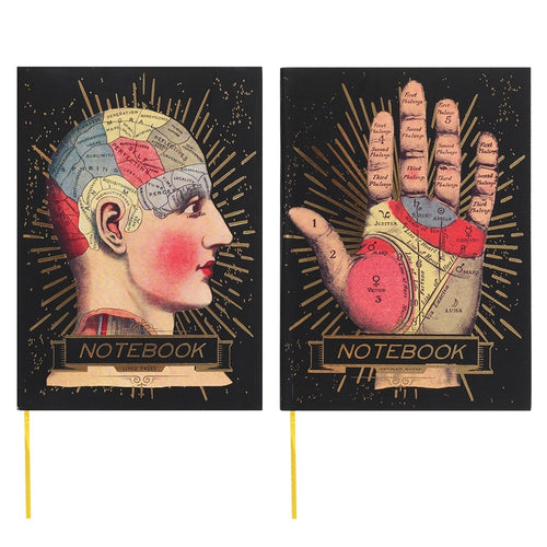 Temerity Jones Phrenology Head & Palmistry Hand vintage style hardback A6 notebook