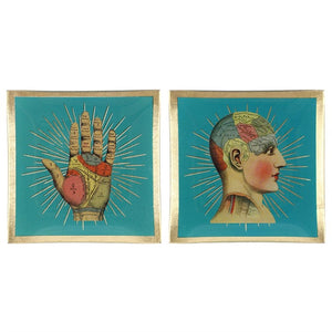 Temerity Jones 10cm square vintage style blue glass phrenology & palmistry trinket/jewellery dish