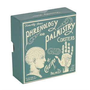 Set of 6 Temerity Jones Phrenology & Palmistry Coasters