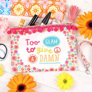 """Too Glam To Give A Damn"" festival, gym or poolside essentials make up or toiletries zip bag"
