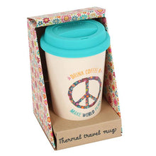 "Thermal travel coffee mug with Peace symbol and ""Drink Coffee Make World Peace"" slogan. Removable blue lid and comes gift packaged, perfect gift for any coffee lover."