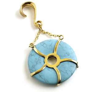 Turquoise (dyed howlite) donut pendant type ear weight. A 6mm brass hook ear stretcher with 70mm turquoise stone suspended from chains, for stretched ears 6mm or bigger.