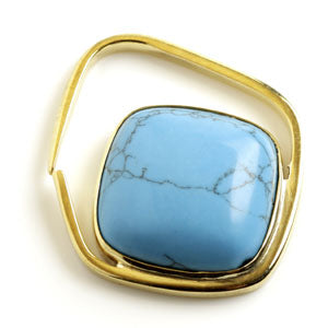 Square cut turquoise stone pendant inside a square brass ear weight