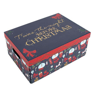 "Christmas Eve box with ""Twas The Night Before Christmas"" gold text on lid. Folds flat for storage to reuse each Christmas."