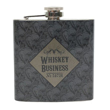 "6oz stainless steel hip flask with ""Whiskey Business"" slogan. Comes gift boxed."