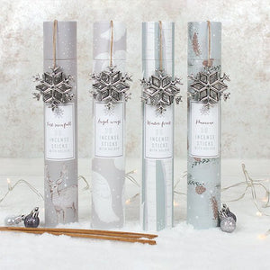 Winter Wonderland festive incense gift set containing 30 Christmas themed incense sticks and a metal snowflake incense stick holder/burner.