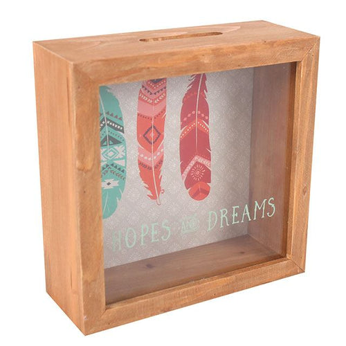 Wooden shadow box type money & memento/inspirational notes keepsake box with clear front and removable back.