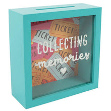 "Collect and display your fave gig tickets, festival wristbands and other treasured memory souvenirs in this shadow box blue MDF box frame keepsake box with clear front and ""Collecting Memories"" slogan."