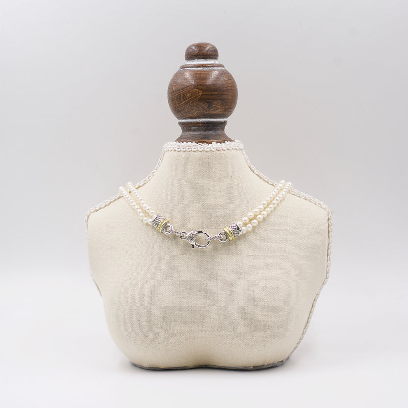Judith Ripka Two-Tone Clasp Double Pearl Necklace