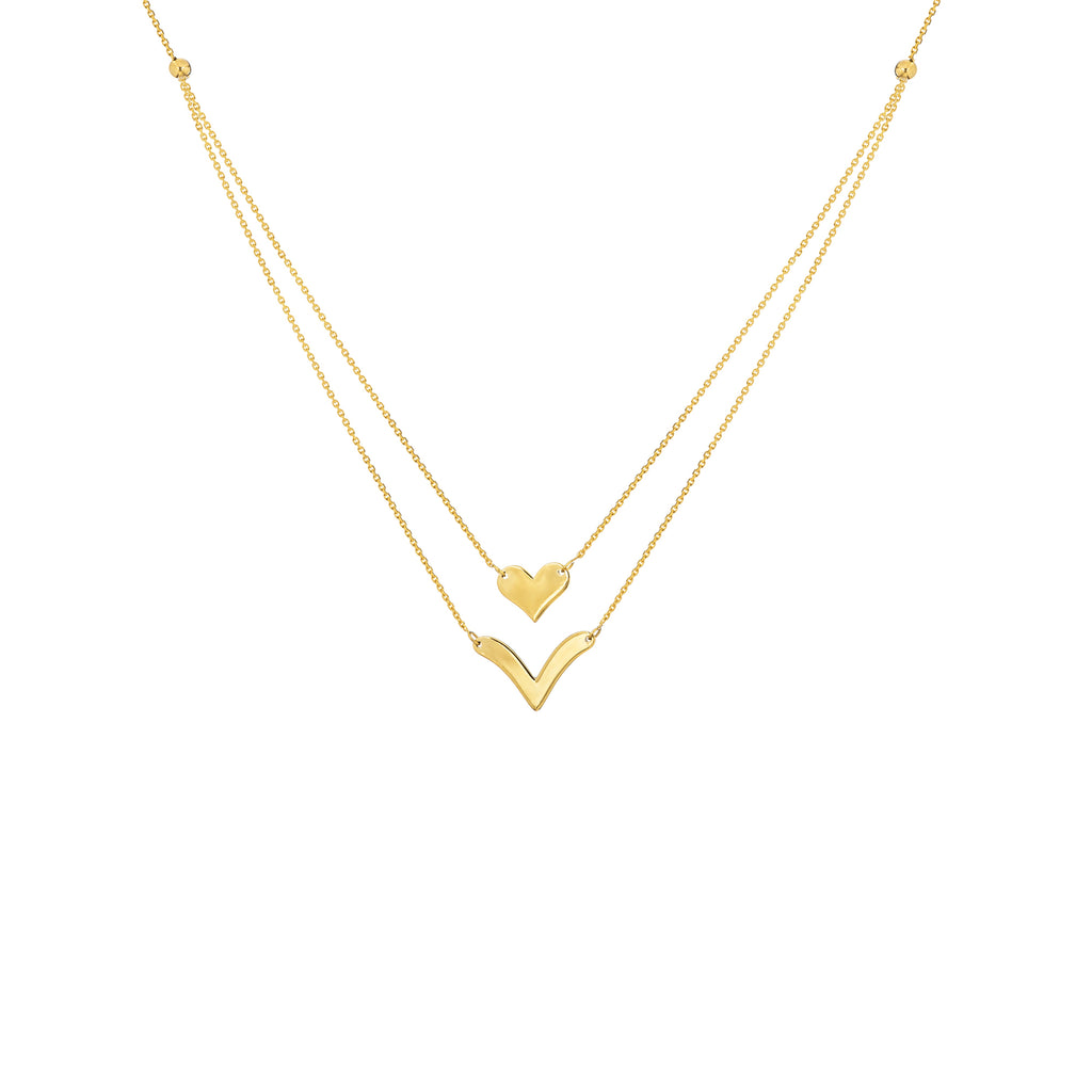 New Yellow Gold Heart and V Necklace