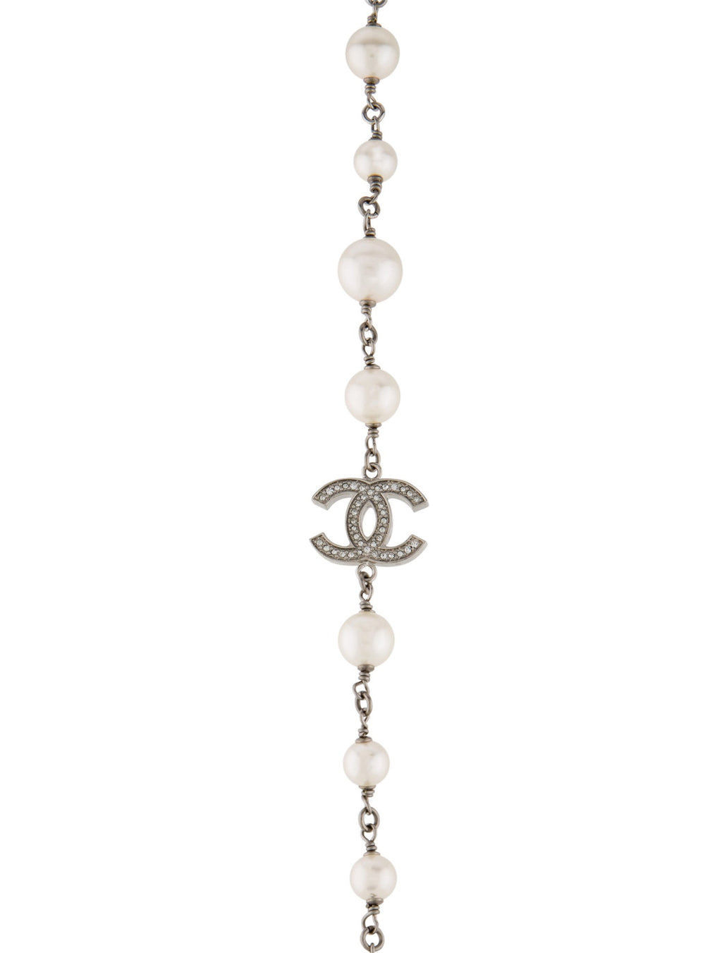 Chanel Faux Pearl & Strass Crystal CC Necklace