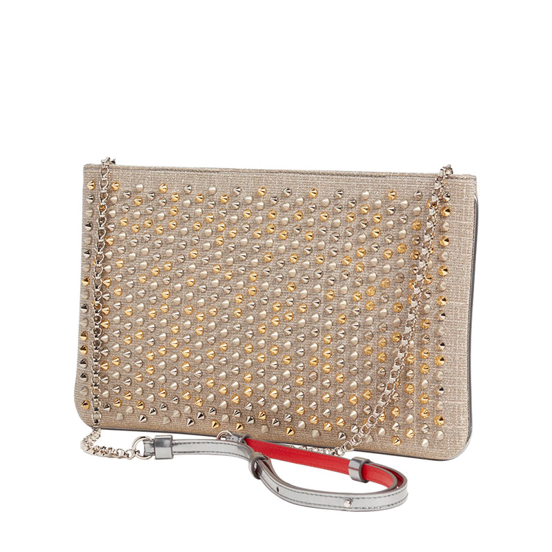Christian Louboutin Spiked Metallic Loubiposh Clutch Crossbody Pre-Loved