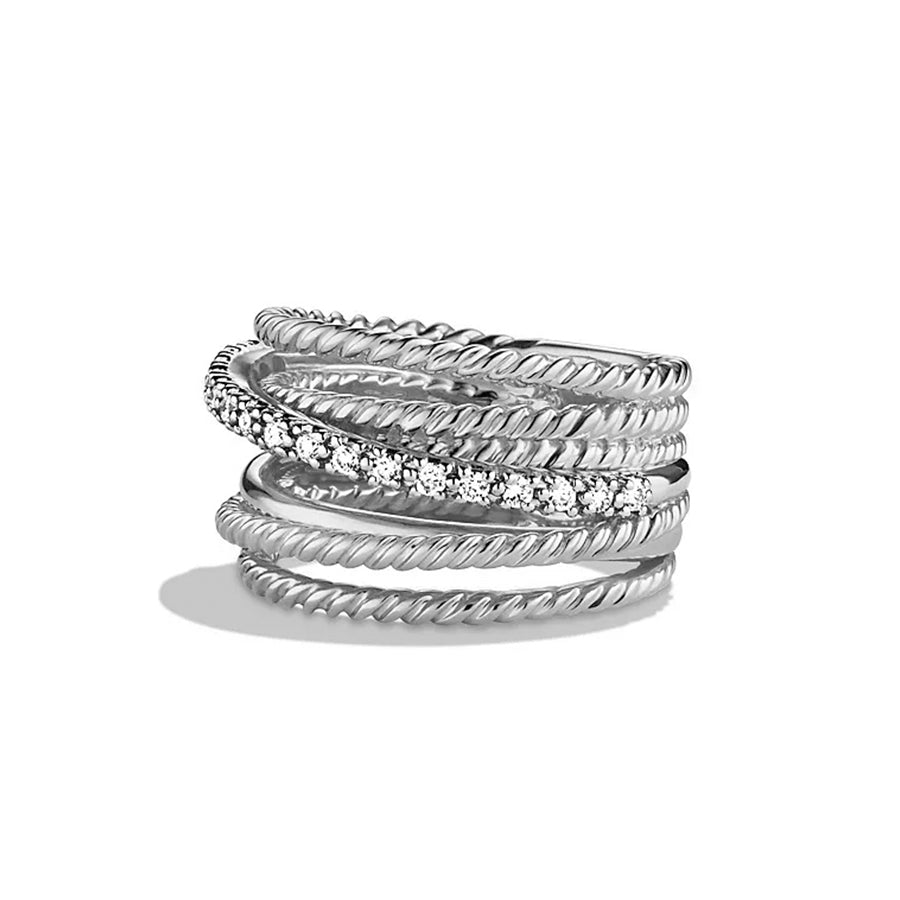David Yurman Diamond Crossover Wide Ring