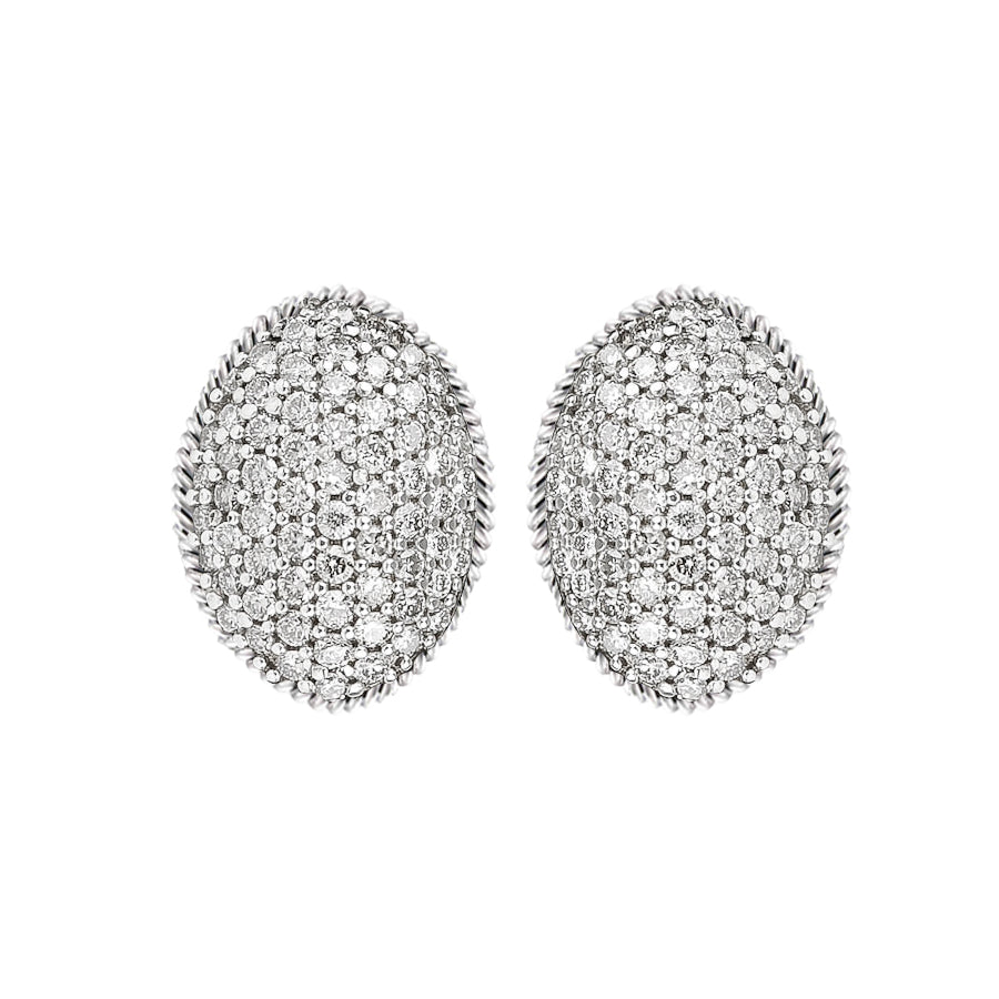 David Yurman Oval Pave Diamond Earrings