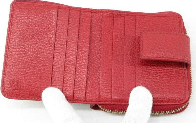 Gucci leather-trimmed GG Canvas compact wallet