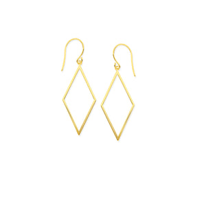 Yellow Gold Open Diamond Shaped Earrings