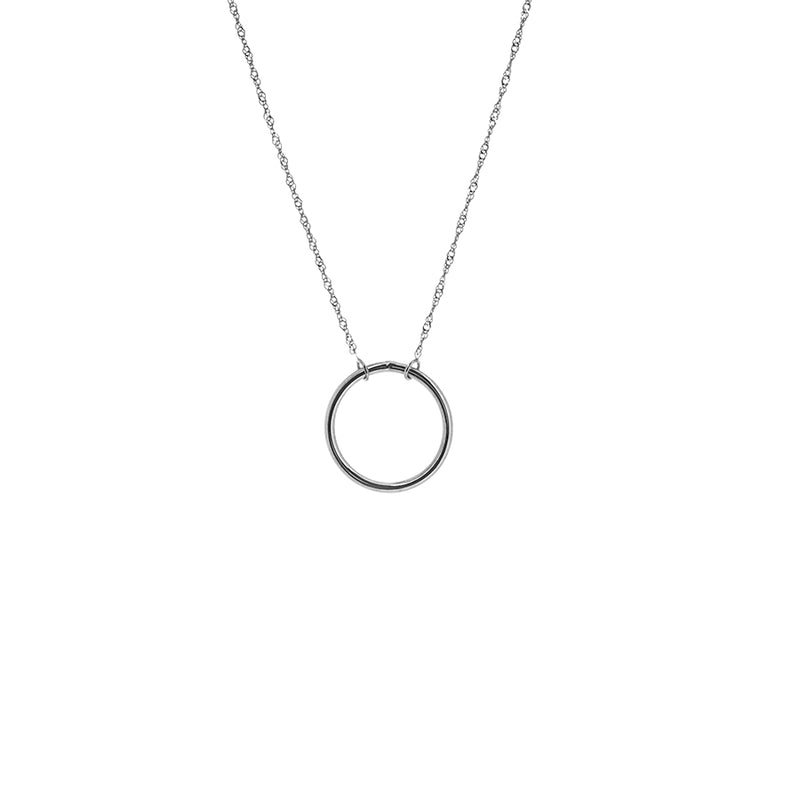 New White Gold Open Circle Necklace