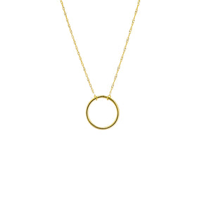 New Yellow Gold Open Circle Necklace