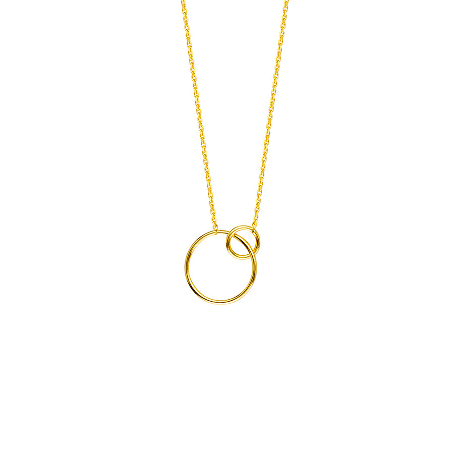 New Yellow Gold Interlocking Ring Necklace