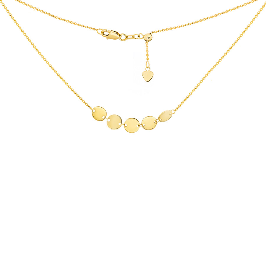 New Yellow Gold 5 Mini Disk Chocker Necklace