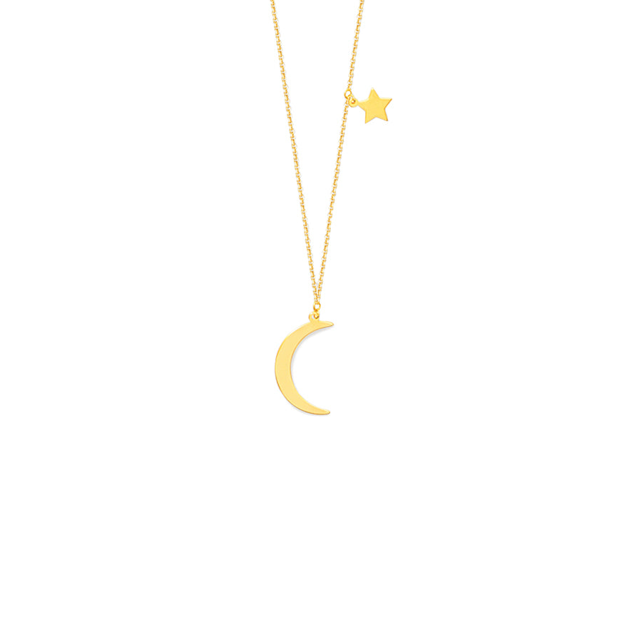 New Yellow Gold Half Moon Star Necklace