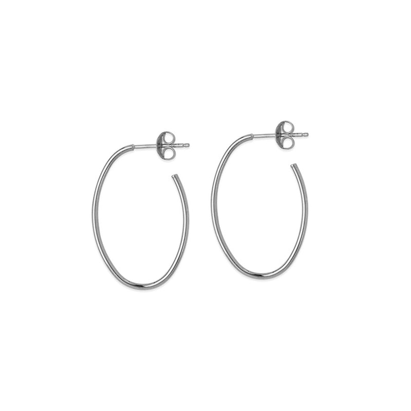White Gold Oval Shaped Half Hoop Earrings