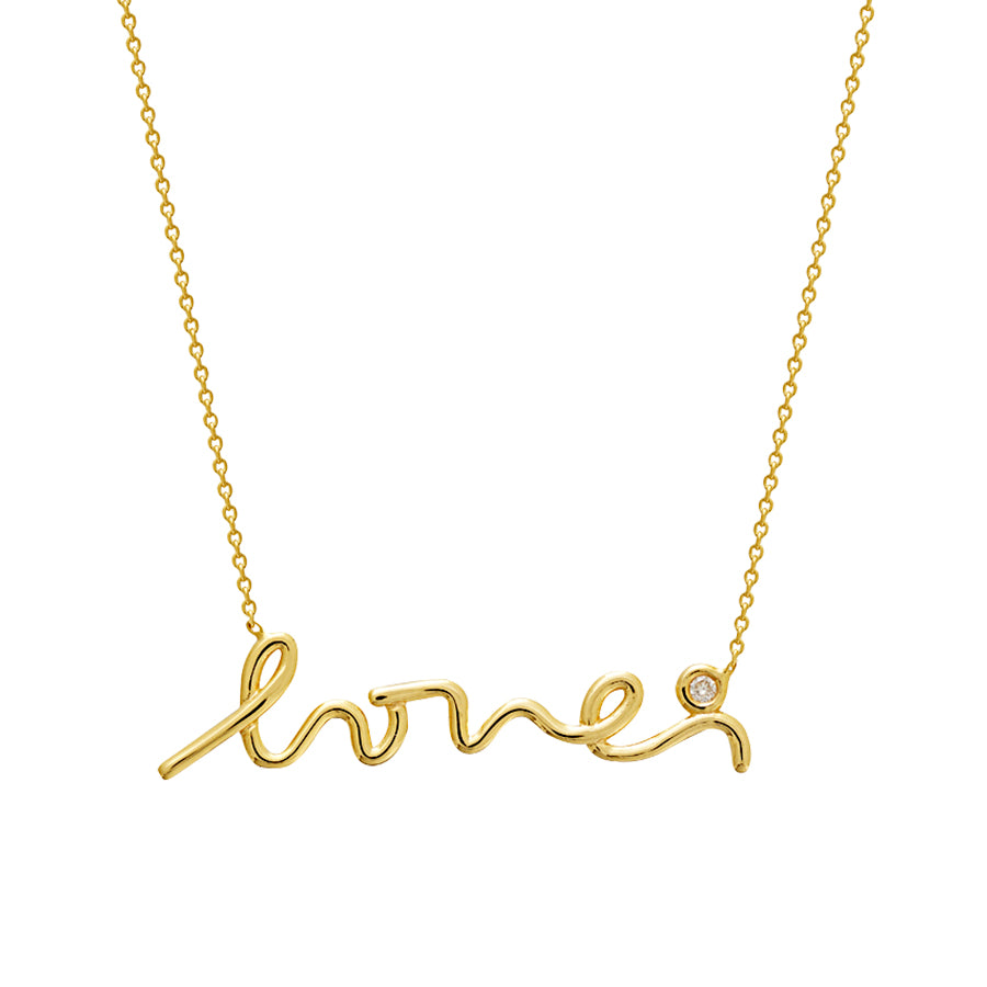 New Yellow Gold Diamond Love Necklace