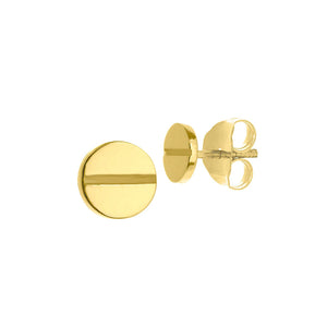 New Yellow Gold Round Screw Design Stud Earrings
